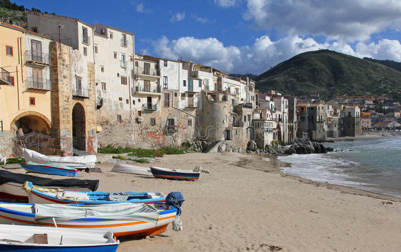 Italy. Sicily island . Province of Palermo. View of Cefalu. In spring stock image