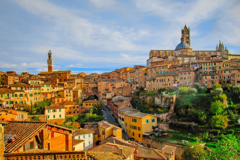 Panorama of old town in Siena, Italy stock image