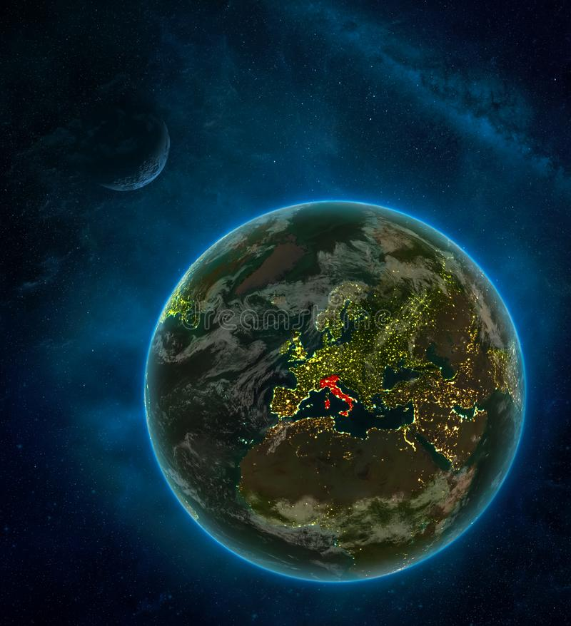 Italy from space on Earth at night surrounded by space with Moon and Milky Way. Detailed planet with city lights and clouds. 3D. Illustration. Elements of this royalty free illustration