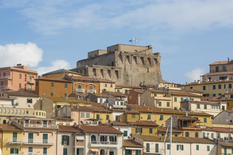 ITALY - SPANISH FORTRESS - 6 SEPTEMBER 2018. The Fortezza Spagnola Spanish Fortress is a coastal fortification that dominates Po stock photography