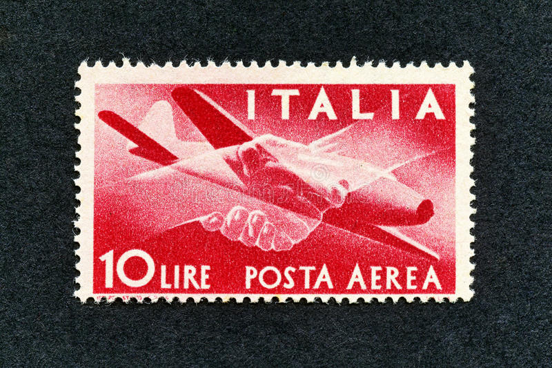 1945 Italy stamp: 10 Lire Air mail. Old retro stamp royalty free stock photo