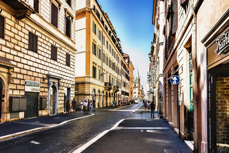 Italy street Via del Babuino in the centre of Rome stock photos
