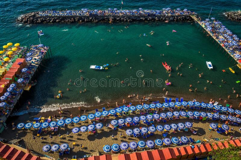 Italy - Swimming Area Packed with Locals - Sorrento. Italy royalty free stock photography