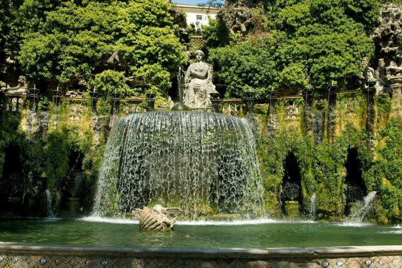 Italy.Tivoli. Landhaus d Este. Brunnen lizenzfreie stockbilder