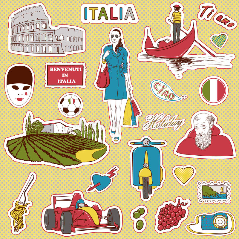 Italy travel icons. Set of the doodle sketches. Italy travel icons royalty free illustration