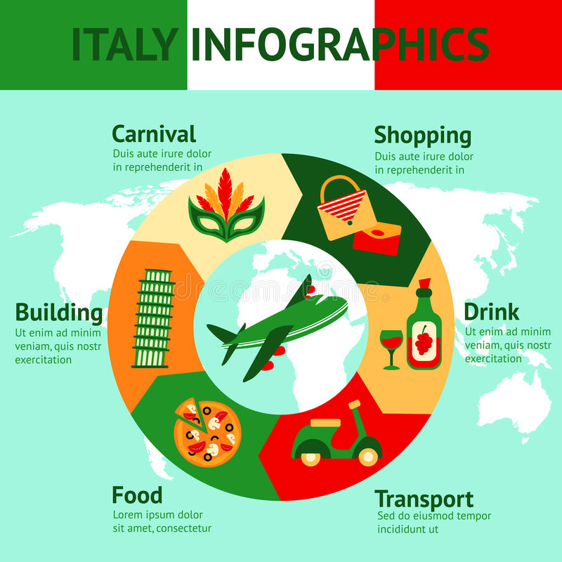 Italy travel infographics stock illustration