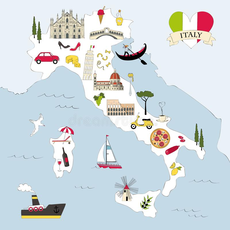 Italy travel map with landmarks and symbols stock photography