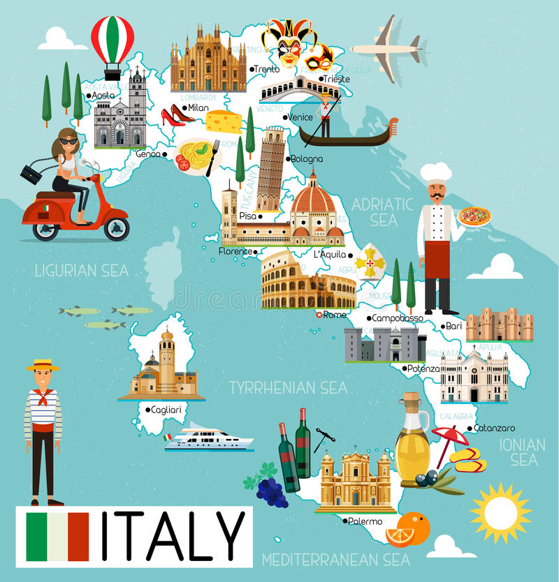Free Italy Travel Map. Royalty Free Stock Photo - 95287885