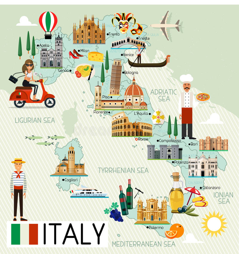 Italy Travel Map. Map of Italy and Travel Icons. Italy Travel Map. Vector Illustration