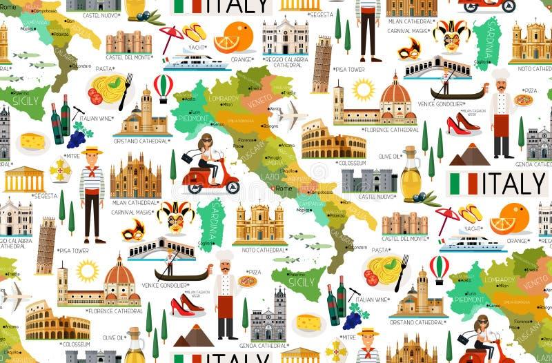 Italy Travel Pattern. vector illustration