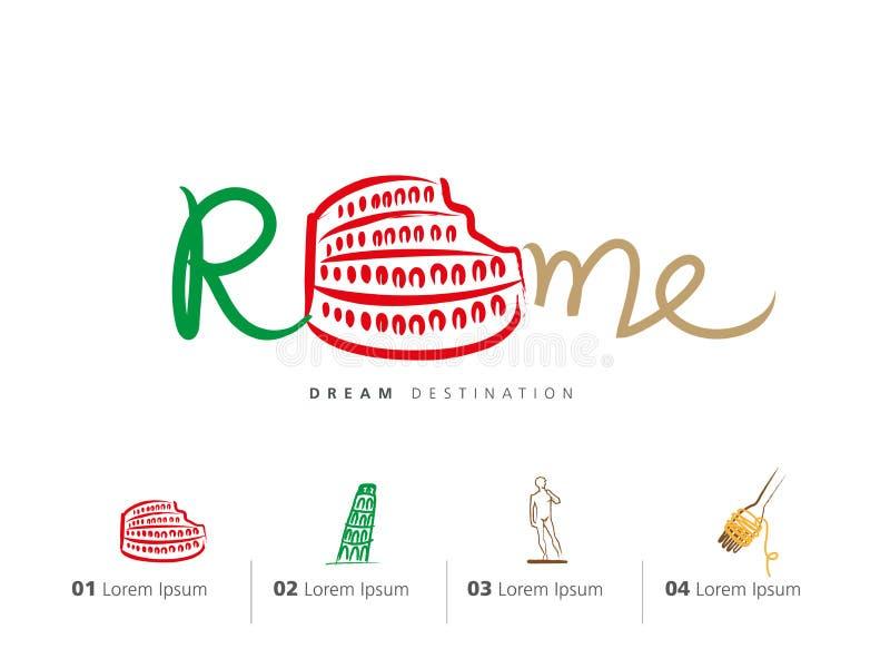 Italy travel set, Rome, Colosseum stock illustration