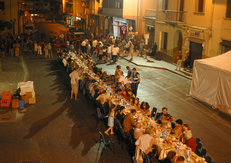 Italy,Tuscany,Florence, The Bagno a Ripoli village, dinner for the road. For the feast of St. Peter royalty free stock photos