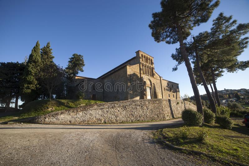 Italy, Tuscany, Gambassi Terme, Florence. The pieve of Santa Maria a Chianni church stock images