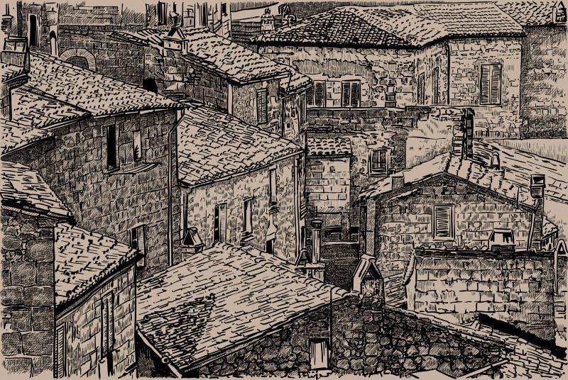 italy Tuscany mieści starego kamień Cyfrowego nakreślenia ręki Rysunkowy wektor ilustracja fotografia royalty free