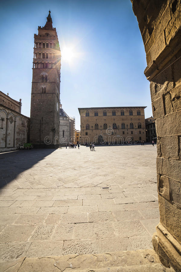 Italy, Tuscany, Pistoia. The bell tower of Cathedral. stock photos