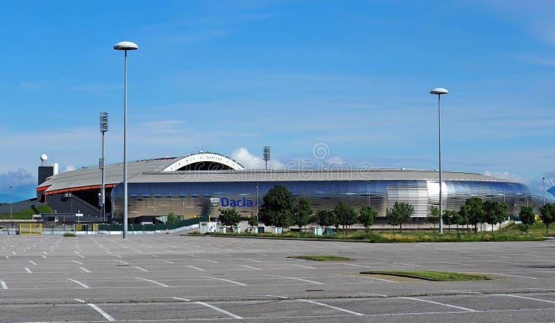 italy udine Maj 16 2018: Den nya stadion Dacia Arena av den Udinese klubban för den sista matchen av den italienska fotbollligan royaltyfria foton