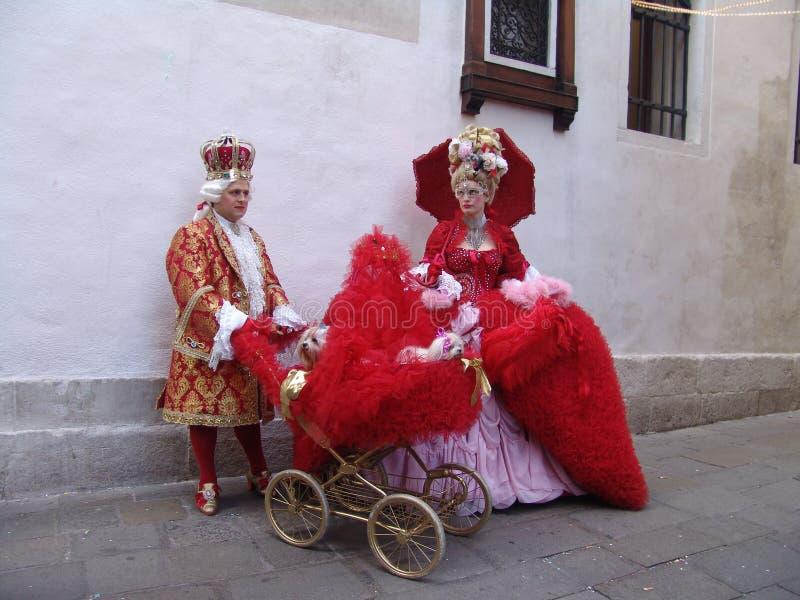 italy Venedig Karneval maskerar folk arkivfoto