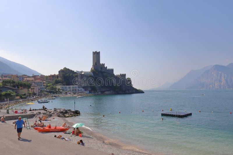 ITALY, VENETO, VERONA, MALCESINE - SEPTEMBER 16, 2019: Castello Scaligero in Malcesine on the shore of Lake Garda. Scene in Italy on a day in September 2019 royalty free stock image