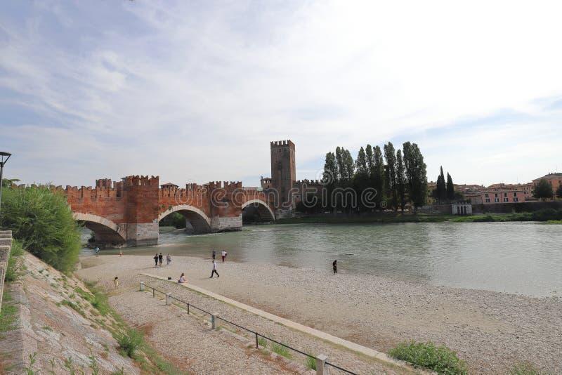 ITALY, VENETO, VERONA - SEPTEMBER 15, 2019: Castelvecchio Bridge in Verona. Scene in Italy on a day in September 2019 stock photography