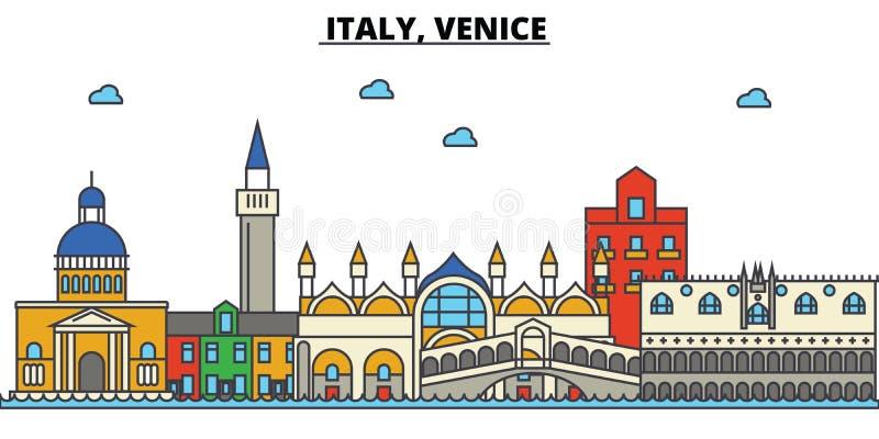 Italy, Veneza Arquitetura da skyline da cidade editable ilustração do vetor