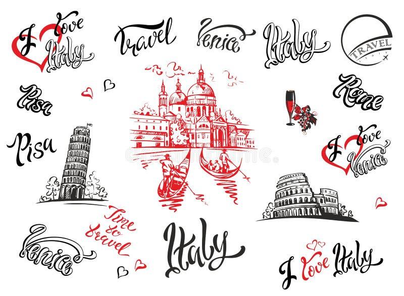 Italy Veneza, Roma, Pisa Jogo dos elementos para o projeto Catedral coliseum Torre de Pisa esboços lettering gondolas Uva ilustração stock