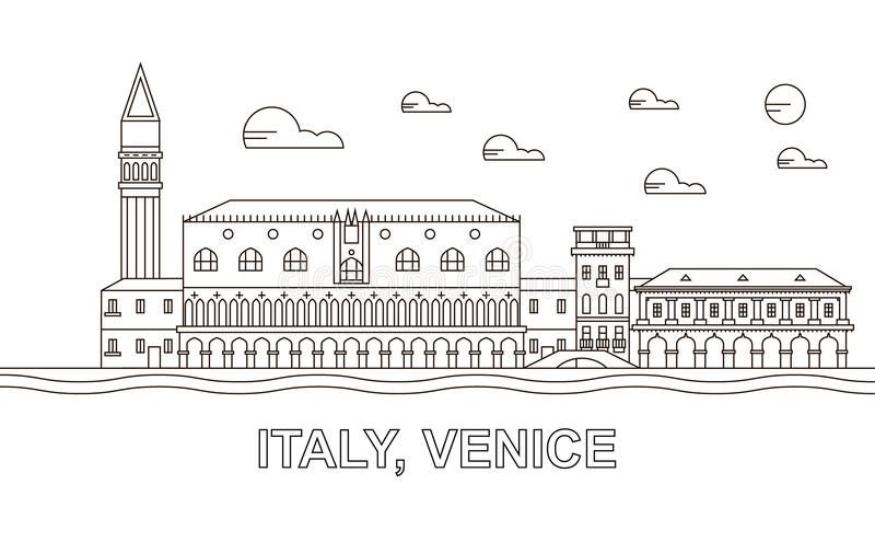 Italy, Venice architecture line skyline illustration. Linear vector cityscape with famous landmarks, city sights, design icons. royalty free stock photos