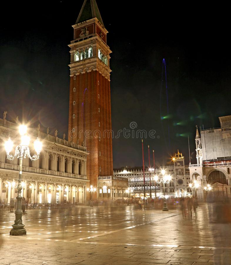 Italy Venice bell tower at night with long exposure stock photography