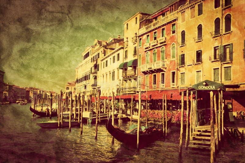 italy venice Gondoler på Grand Canal arkivbild