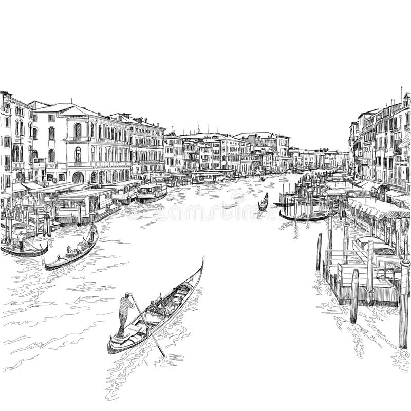 Italy. Venice - Grand Canal. Venice - Grand Canal. The view from the Rialto Bridge. Vector drawing vector illustration