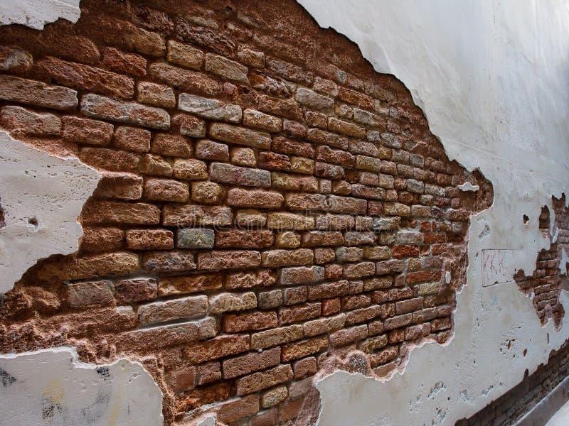 Italy, Venice - Old Brick Wall Shows Brick Is Stronger than Mortar stock photos