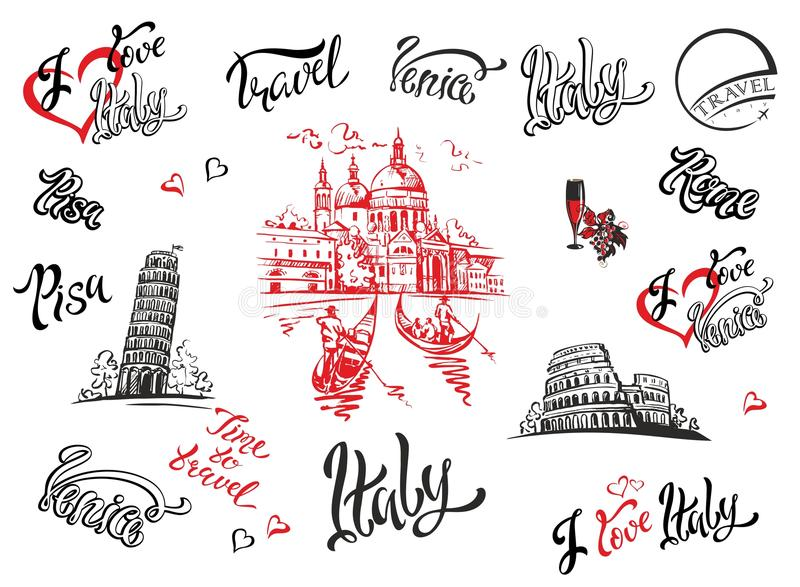 Italy. Venice, Rome, Pisa . Set of elements for design. Cathedral. Coliseum. tower of Pisa. sketches. Lettering. Gondolas. Grape. stock illustration