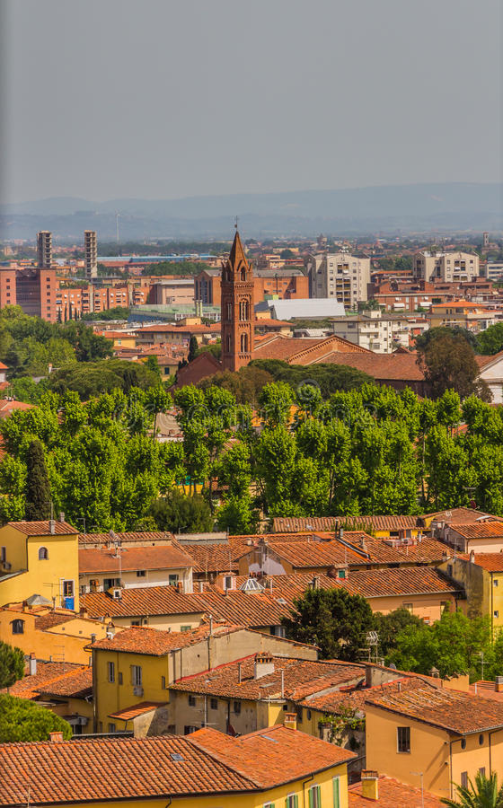 Italy: view of the old city of Pisa from the leaning tower stock photos