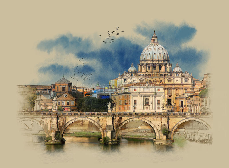 Italy, view of panorama Vatican City from Ponte Umberto I in Rome, watercolor sketch, stock photos