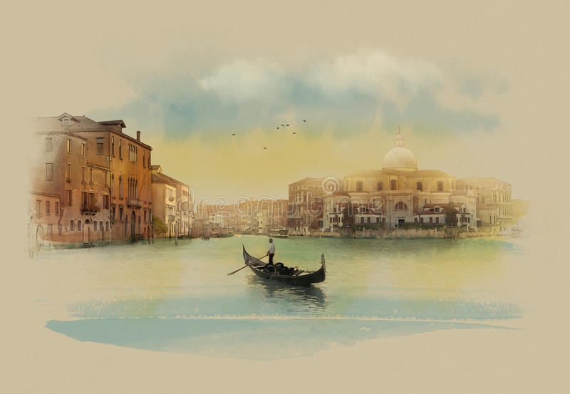 Italy, view of panorama VaticanThe Venetian landscape in the early morning. Watercolor sketch. The Venetian landscape in the early morning stock illustration