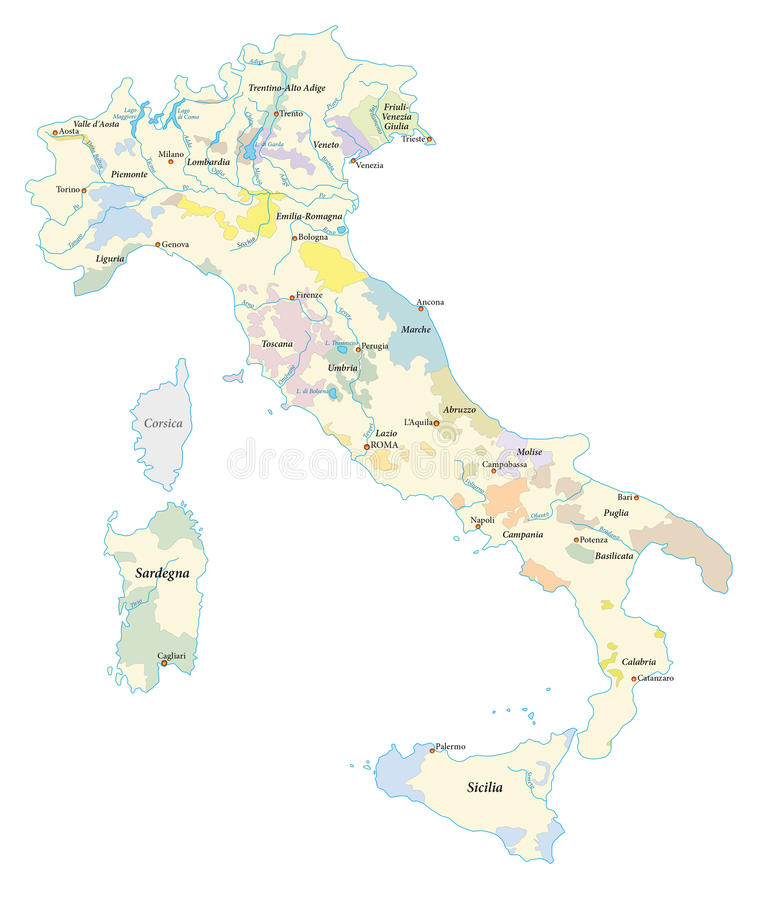Italy wine regions map. Highly detailed map of the Italian wine regions royalty free illustration