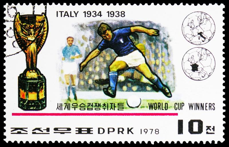 Italy, Winner of the FIFA World Cup 1930-1978 serie, circa 1978. MOSCOW, RUSSIA - FEBRUARY 22, 2019: A stamp printed in Korea shows Italy, Winner of the FIFA royalty free stock photos