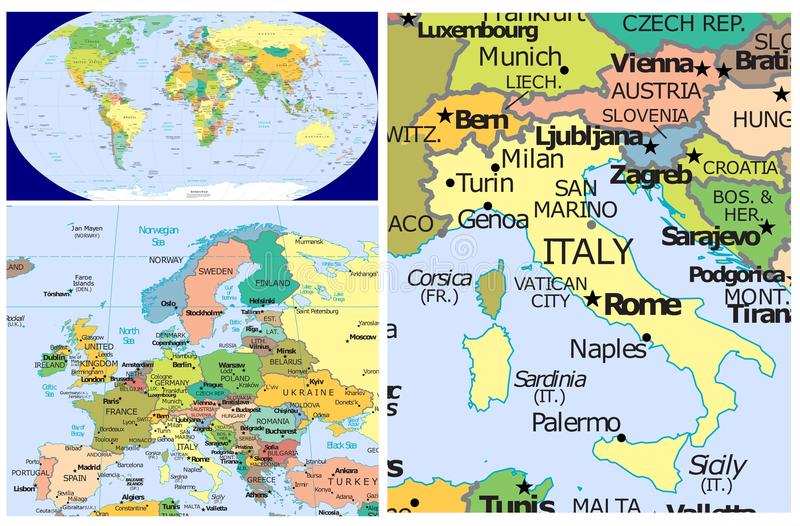 Italy world stock illustration illustration of asia 83438045 world map and close up of italy gumiabroncs Images