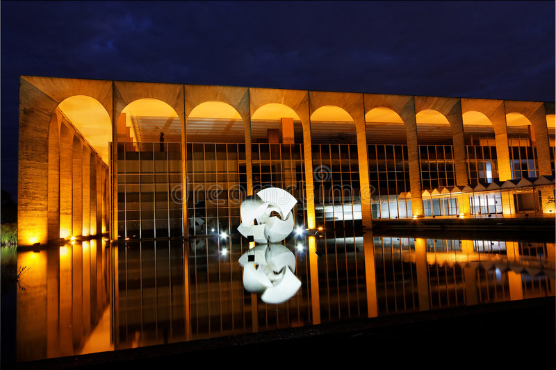 Itamaraty Building at Night Brasilia stock images