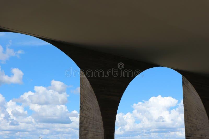 Itamaraty`s Palace Facade Detail - Arcos do Palácio do Itamaraty. Itamaraty`s Palace Concrete Arches Facade Detail royalty free stock photography