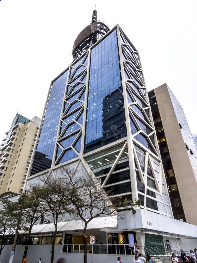Itau kulturbyggnad i den Paulista avenyn arkivfoto