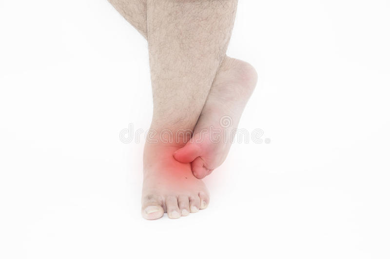 Itch with foot. Man scratch the itch with foot, Man with athlete`s foot scratches, isolated on white background royalty free stock photos