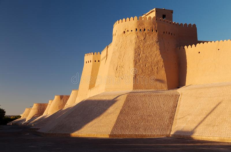 Itchan Kala - Khiva -乌兹别克斯坦墙壁 库存图片