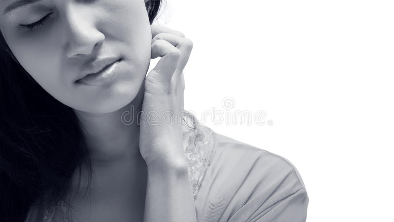 Itching. People scratch the itch with hand ,Neck, itching, Concept with Healthcare And Medicine stock images
