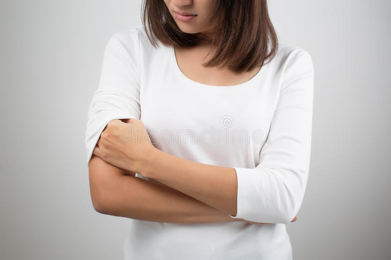Itching In A Woman. On white background stock image
