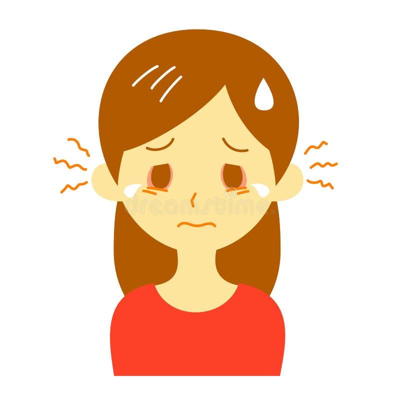 Itchy oczy, kobieta ilustracja wektor