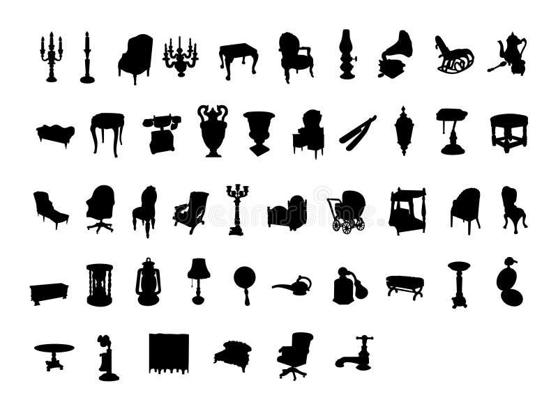 Items antiguos de la silueta del Victorian ilustración del vector