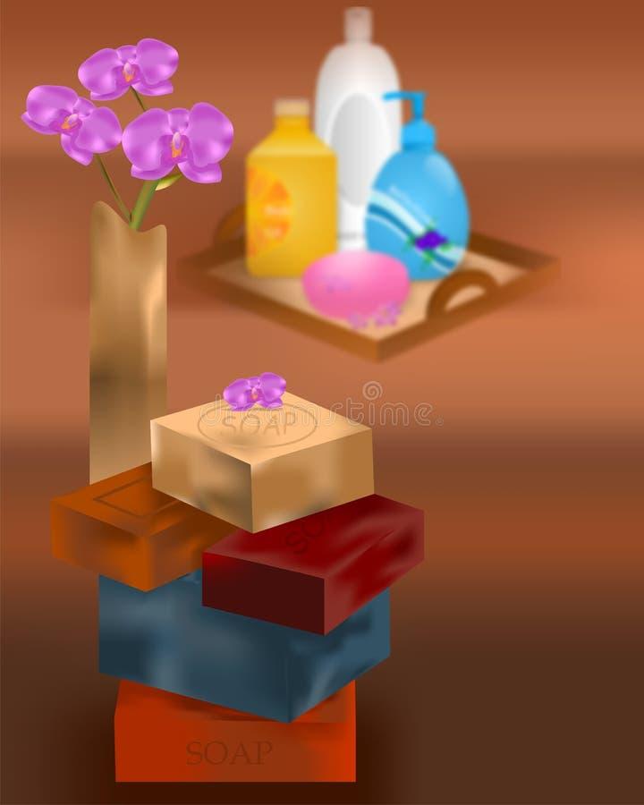 Items de la belleza y del balneario ilustración del vector