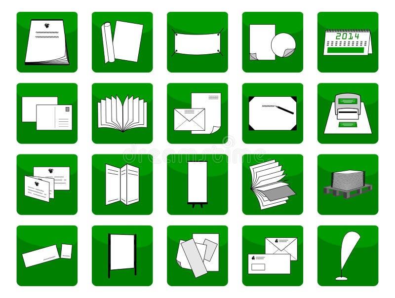 Items de la impresión de los iconos ilustración del vector
