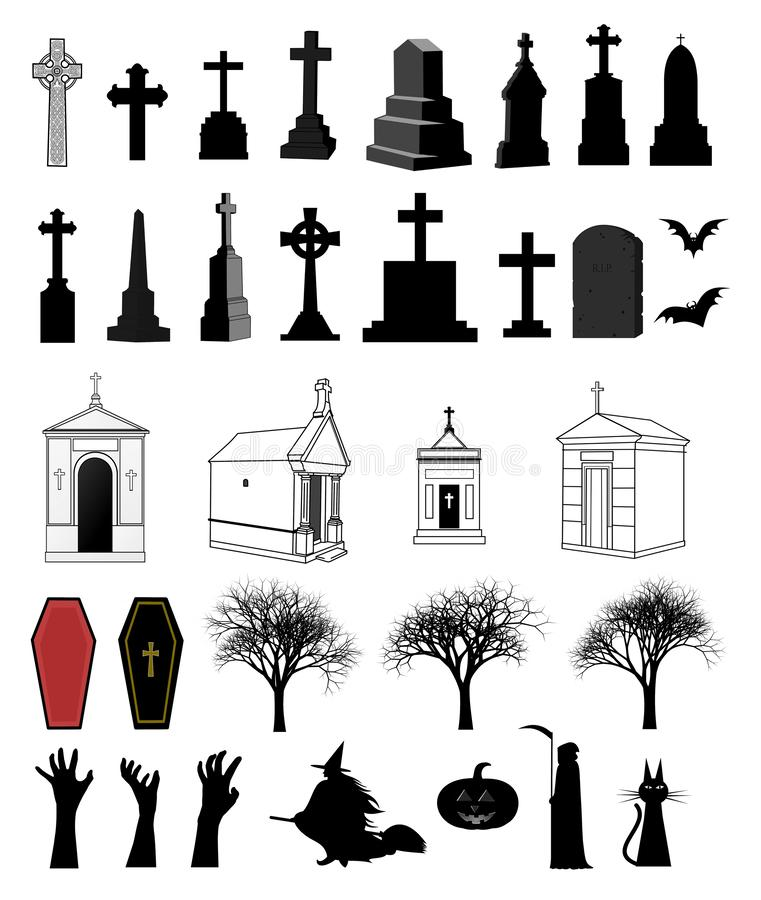 33 items decorative set for halloween. Collection with crosses, tomb stones, mausoleums, coffin, creepy tree, zombie hands, witch, pumpkin, grimm-reaper, and royalty free illustration
