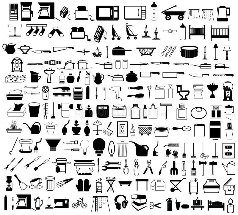Items del hogar fijados ilustración del vector